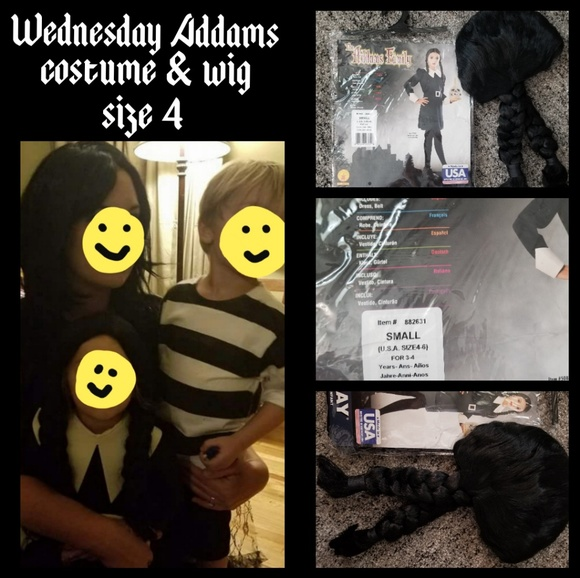 Child S Wednesday Addams Costume And Wig Nwt